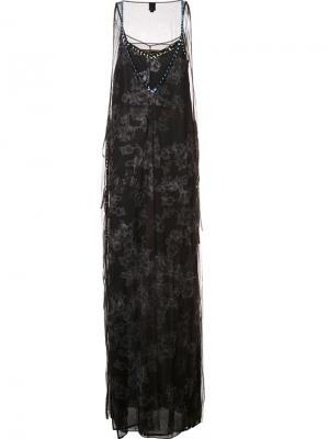 Длинное тюлевое платье декорированное кристаллами Vera Wang. Цвет: чёрный