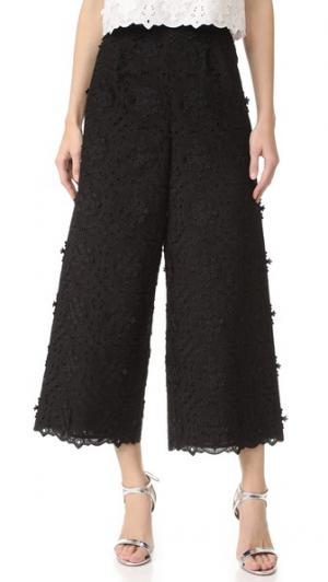 Кружевные укороченные брюки Costarellos. Цвет: голубой