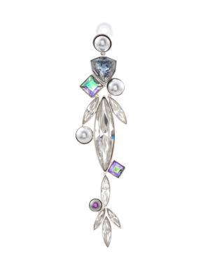 Серьга из латуни с кристаллами и жемчугом Ca&Lou. Цвет: серебряный, белый, голубой