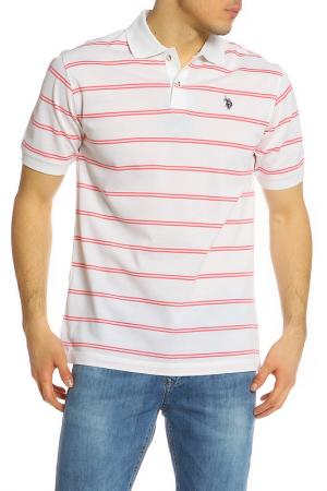 Футболка-поло U.S. Polo Assn.. Цвет: кремовый, коралловый