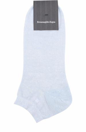 Носки из смеси льна и хлопка Ermenegildo Zegna. Цвет: голубой