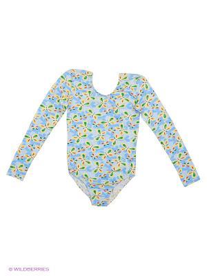 Гимнастический купальник Танцевальный Мир. Цвет: голубой
