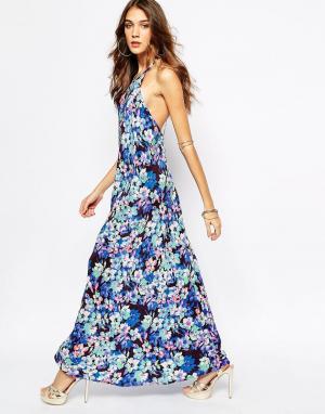 Yumi Kim Шелковое платье макси с цветочным принтом. Цвет: мульти