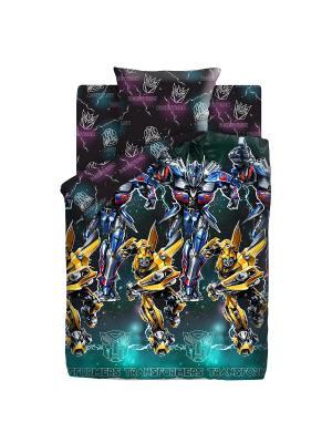 Комплект постельного белья 1,5 поплин Оптимус Прайм и Бамблби Neon Transformers. Цвет: бирюзовый, серый, темно-фиолетовый
