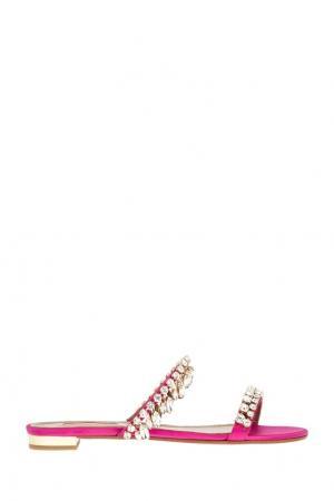 Сандалии с кристаллами Eden Sandal Flat Aquazzura. Цвет: розовый