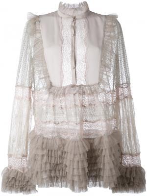 Прозрачная блузка с рюшами Amen. Цвет: серый
