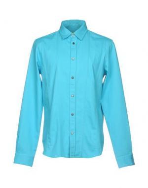 Джинсовая рубашка VERSACE JEANS. Цвет: бирюзовый