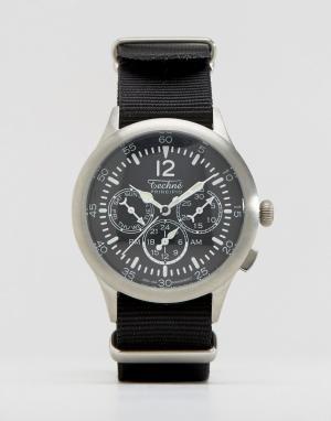 Techne Черные часы с хронографом и натовским ремешком Merlin. Цвет: черный