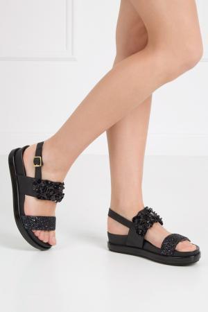 Кожаные сандалии Sharon ASH. Цвет: черный