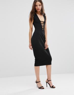 Hedonia Платье-футляр миди с кружевом. Цвет: черный