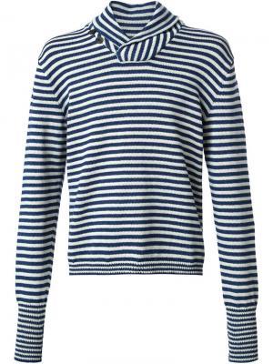 Полосатый свитер с воротником-шалькой Rrl. Цвет: синий
