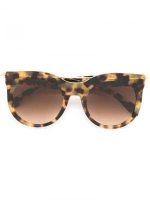 Солнцезащитные очки в круглой оправе Alexander Mcqueen Eyewear. Цвет: телесный