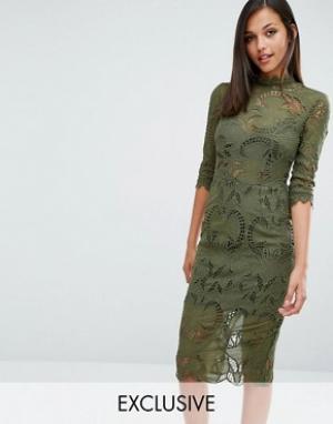 Love Triangle Кружевное платье миди с длинными рукавами. Цвет: зеленый