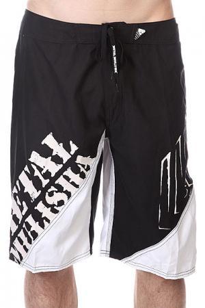 Шорты пляжные  Lift Black/White Metal Mulisha. Цвет: черный,белый