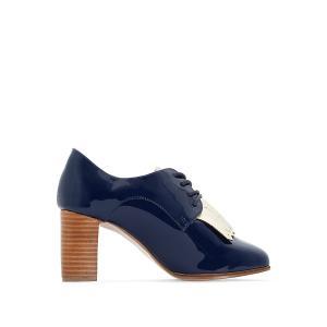 Ботинки-дерби кожаные лакированные на высоком каблуке ANNE WEYBURN. Цвет: темно-синий