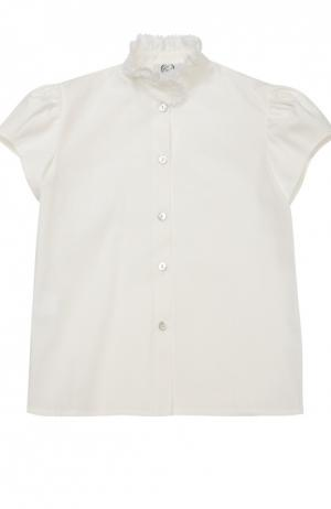 Хлопковая блуза с кружевным воротником-стойкой Caf. Цвет: кремовый
