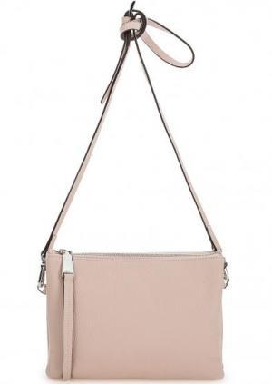 Кожаная сумка с тонким плечевым ремнем Abro. Цвет: бежевый