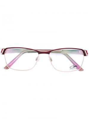 Очки с прямоугольной оправой Cazal. Цвет: розовый и фиолетовый