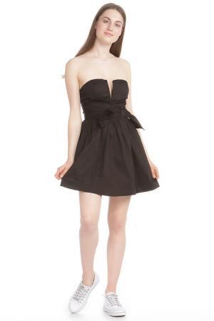 Прилегающее платье с вырезом корсаж TRAC. Цвет: black