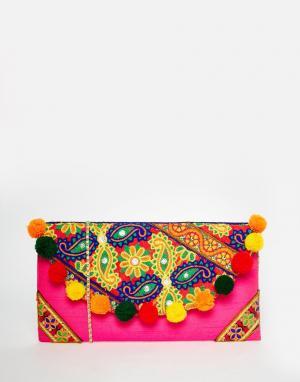 Moyna Клатч с клапаном, вышивкой и отделкой помпонами. Цвет: мульти