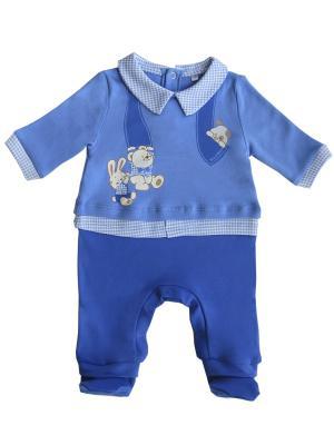 Комбинезон застежка по ножкам и спинке, Мишка Джентельмен Soni kids. Цвет: голубой