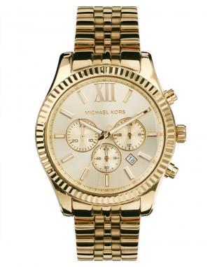Michael Kors Золотистые часы с хронографом MK8281 Lexington. Цвет: золотой