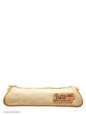 Пенал-тубус на молнии JUTE Tiger Family. Цвет: бежевый