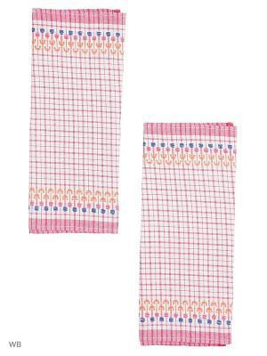 Набор полотенец лен Украинка Римейн. Цвет: малиновый