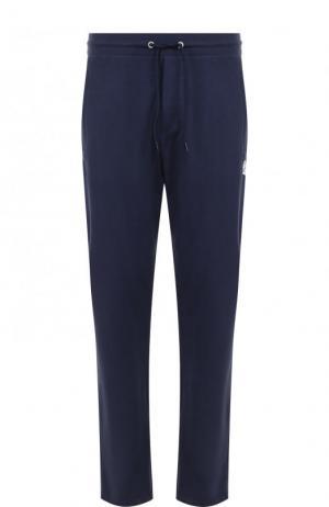 Хлопковые брюки прямого кроя с поясом на кулиске Dirk Bikkembergs. Цвет: темно-синий