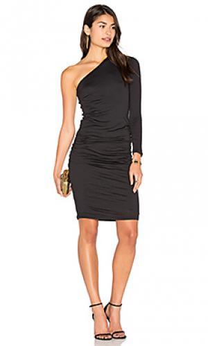 Миди платье на одно плечо sheela Velvet by Graham & Spencer. Цвет: черный