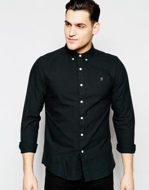Farah Черная оксфордская рубашка слим Brewer. Цвет: черный