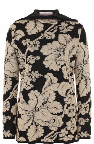 Шерстяной пуловер с принтом и капюшоном Tak.Ori. Цвет: черный