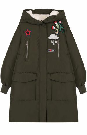 Пуховое пальто с нашивками и капюшоном Ermanno Scervino. Цвет: хаки