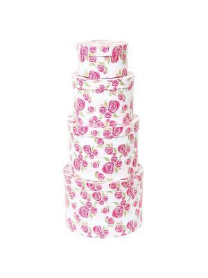Коробка картонная, набор из 4 шт. 13,5*13,5*8-23*23*16 см. Розовая графика VELD-CO. Цвет: зеленый, белый, розовый