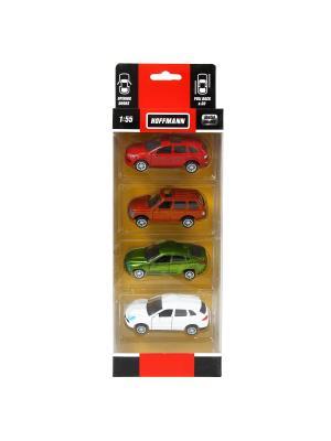 Машина металлическая, набор 4 шт HOFFMANN. Цвет: зеленый, красный, золотистый, белый