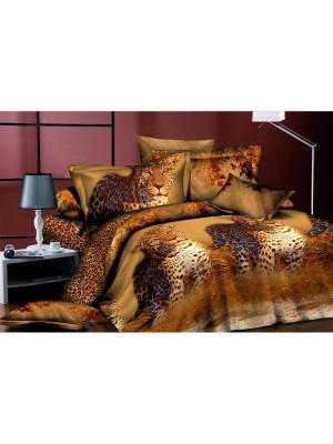 Комплект постельного белья  Семейный ДомВелл сатин СН01 Леопард. Цвет: коричневый