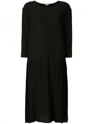 Платье с плиссировкой Apuntob. Цвет: чёрный