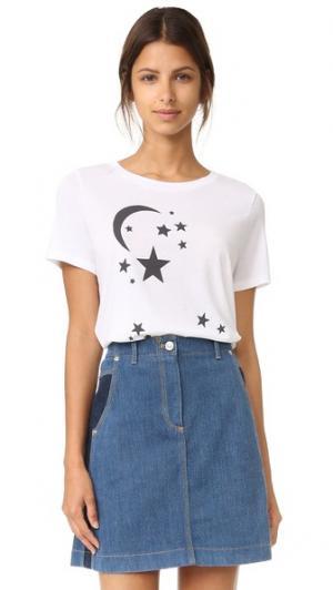 Футболка Moon and Stars South Parade. Цвет: белый