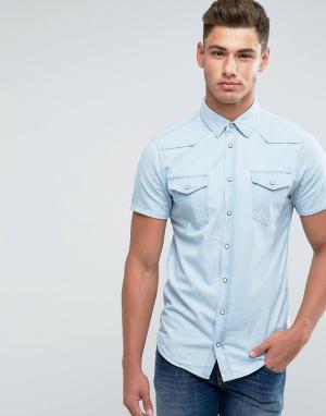 Blend Джинсовая рубашка с короткими рукавами. Цвет: синий