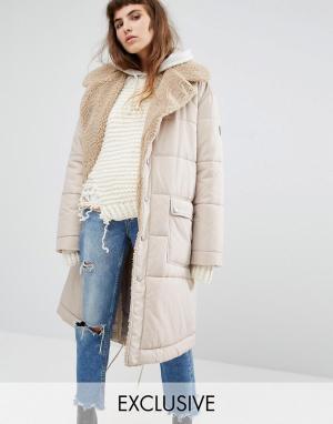 Puffa Oversize-пальто с шалевым воротником из искусственного овечьего меха P. Цвет: рыжий