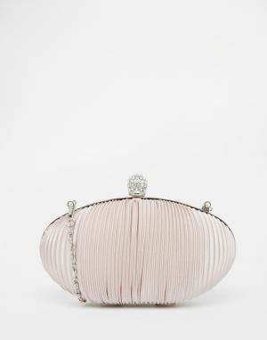 Vintage Styler Нюдовый овальный клатч из присборенного атласа. Цвет: телесный
