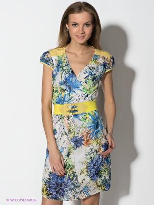 Платье TOPSANDTOPS. Цвет: желтый, синий