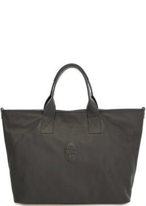 Вместительная кожаная сумка с дополнительным плечевым ремнем Io Pelle. Цвет: серый