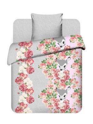 Комплект постельного белья Дисней Василек. Цвет: розовый, серый