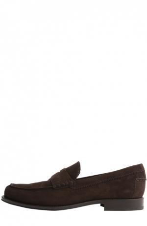 Замшевые пенни-лоферы Tod's. Цвет: коричневый