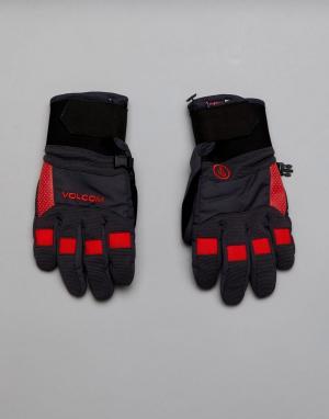 Volcom Перчатки с прочной нескользящей отделкой на ладонях Snow Crail. Цвет: черный