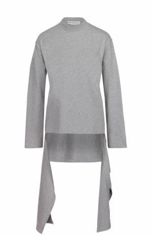 Пуловер асимметричного кроя с длинными рукавами и круглым вырезом Balenciaga. Цвет: серый