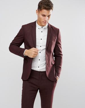 Jack & Jones Облегающий пиджак из твида Premium. Цвет: красный