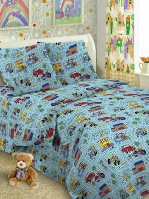 Комплект в кроватку Ясли BGR-32, бязь, простыня на резинке Letto. Цвет: голубой