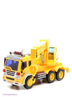 Машина грузовик с подъемным краном Amico. Цвет: желтый